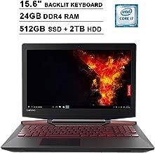 2019 Lenovo Legion Y720 15.6 Inch FHD 1080P Gaming Laptop (Inter Quad-Core i7-7700HQ up to 3.8GHz, 24GB DDR4 RAM, 512GB SSD (Boot) + 2TB HDD, GeForce GTX 1060 6GB, Backlit KB, Windows 10) (Black)