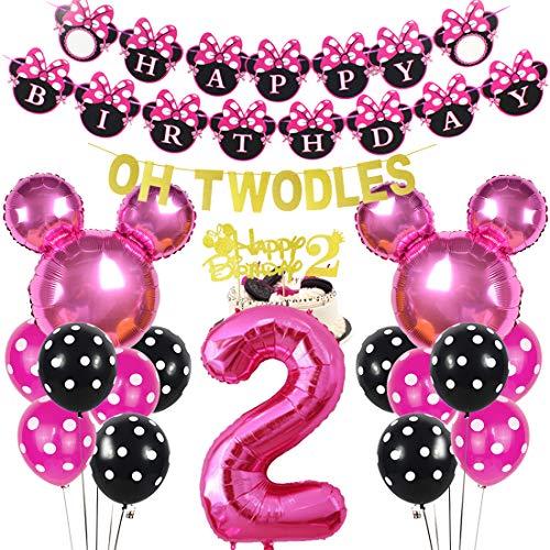Decoración para cupcakes con texto en inglés 'Oh Twodles', color rosa
