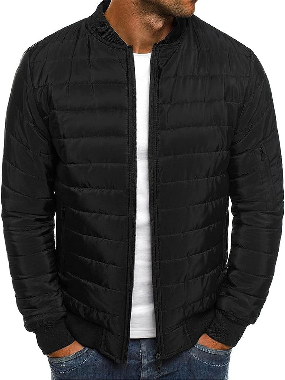 XXBR Down Puffer Jackets for Mens, Lightweight Cotton Padded Zipper Casual Warm Baseball Windbreaker Outdoor Sport Coats