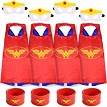 Gream baby Superhero Capes with Masks and Slap Bracelets Party Dress up for Kids (Red 4 Sets)