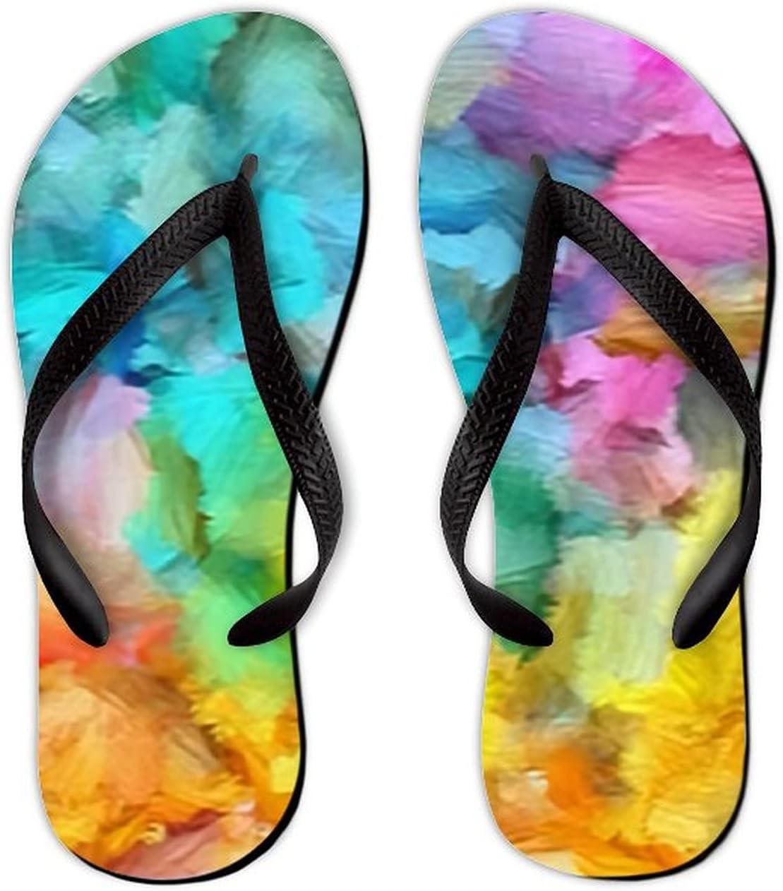 UTF4C Summer Flip Flops for Men Women Soft Brushstrokes Paint Artistic Pattern Soft Lightweight Non Slip Sandals for Shower Beach Pool Bathroom Flat 6.5