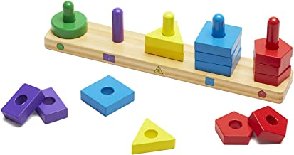 Melissa & Doug Stack and Sort Board (Wooden Educational Toy With 15 Solid Wood Pieces, Great Gift for Girls and Boys – Best for 2, 3, and 4 Year Olds)