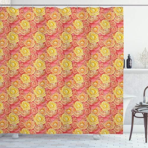 ABAKUHAUS Blasses Rosa Duschvorhang, Romantische Rosen Garten, Waschbar & Leicht zu pflegen mit 12 Haken Hochwertiger Druck Farbfest Langhaltig, 175 x 200 cm, Gelbe Korallen Rosa