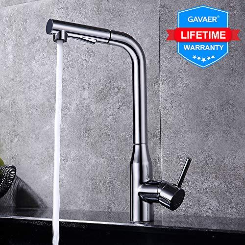 GAVAER Küchenarmatur mit Extrahierbar 2 Modus Duschkopf, 360° Schwenkbar Rechter Winkel Design Wasserhahn Küche zum platzsparen, Bleifreies Messing Verchromt, Lebenslange Garantie.