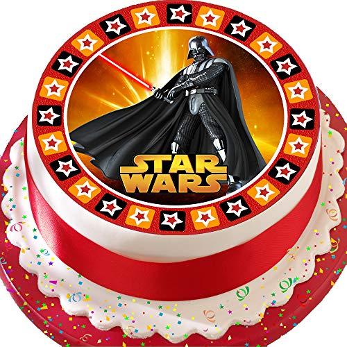 Cannellio Cakes vorgeschnittenen Essbarer Zuckerguss Cake Topper, 19,1cm rund Star Wars Darth mit Star Bordüre