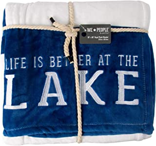 Pavilion Gift Company Life is Better at The Lake-Blue & White Super Soft 50 x 60 Inch Striped Throw Embroidered Text 50