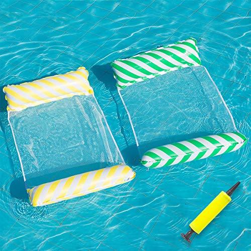 LONEEDY Hamaca de agua para piscina, hamaca flotante, balsas inflables para piscina, aire ligero, silla flotante compacta y portátil, para adultos y niños (amarillo+verde)