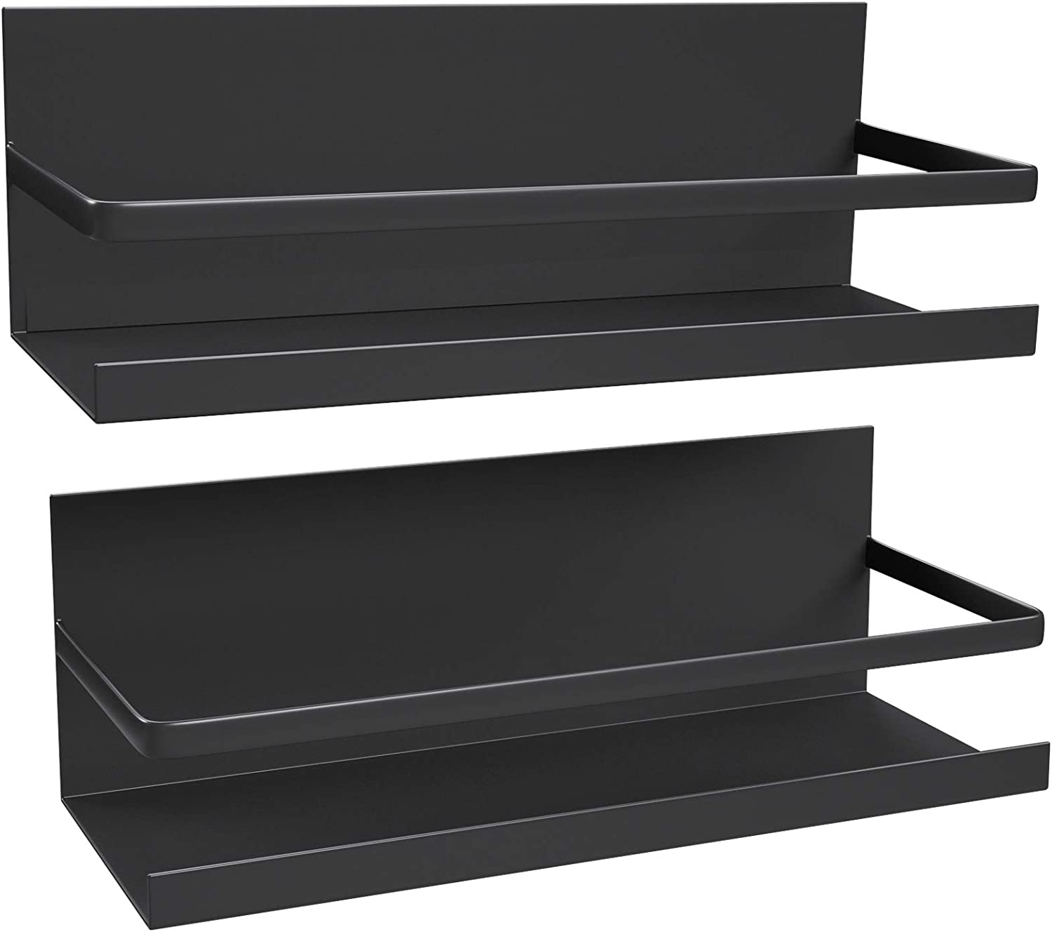 Amazon Com 2 Pack Magnetic Shelf For Refrigerator Magnetic Spice Rack Fridge Storage Organizer For Kitchen Spice Rack For Cabinet Space Container For Small Kitchen Apartment Drill Free Black 2 Pack Kitchen Dining