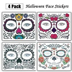 Ofertas Tienda de maquillaje: 【PATRONES】 El kit incluye numerosos componentes de tatuaje individuales para una colocación precisa y creativa en la cara; Diseños de imagen de espejo para cada lado de la cara y diseños centrales para la frente, nariz y mentón. 【OCASIÓN】 Incluya 4 h...