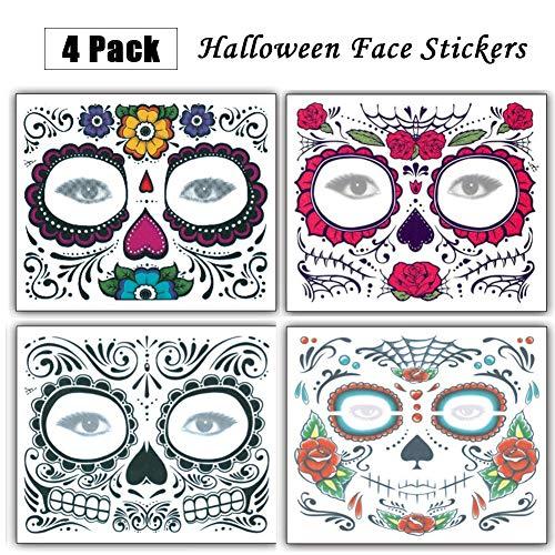 Tatuaje temporal de la cara Diseño de rosa, 4 piezas Regalos de Navidad Etiquetas engomadas del tatuaje de Halloween, Día de los muertos Maquillaje para la fiesta de disfraces de Navidad