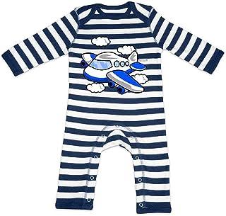 HARIZ HARIZ Baby Strampler Streifen Flugzeug Bagger Eisenbahn Inkl. Geschenk Karte Navy Blau/Washed Weiß 3-6 Monate