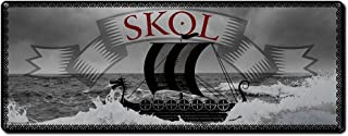 Skol, 6 x 16 Inch Metal Sign, Viking and Pirate Accessories and Wall Decor for Man Cave, Garage, Brewery, Bar, Pub, Restaurant, Gifts for Men, Dad, Boyfriend, Vintage Rusty Look, RK3047 6x16