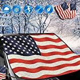 Big Ant Snow Cover, American Flag Windshield Snow Cover and Mirror Covers for Storage Ice Protector Windproof Car Cover in All Weather, Fit for Cars, Trucks, SUV, Vans Vehicle