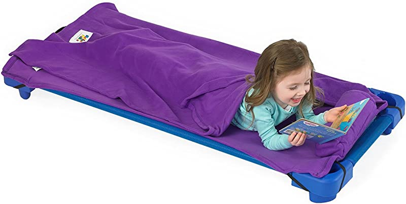 ROLLEE POLLEE Preschool And Daycare Roll Up Napping Blanket With Attached Pillow Super Soft With Elastic Straps For Securing Onto Standard Mats And Cots Purple