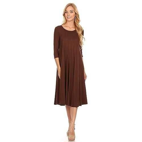 a647c6e53b49 Women s Solid Print Casual Basic Comfy 3 4 Sleeve A-line Midi Dress