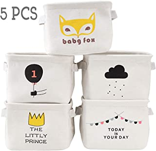 Foldable Storage Bins Baskets for Organizing, Empty Canvas Storage Bins for Books, Nursery Small Storage Basket for Toys, Bathroom Folding Fabric Storage Basket Bin with Natural Linen Cotton (5PCS-B)
