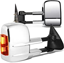 Pair of Chrome Manual Telescoping w/Amber LED Side Turn Signal Towing Mirrors for 03-07 Silverado/Sierra