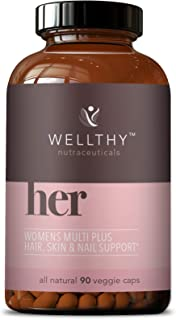 Wellthy Her Women's Multivitamin - Vegan Multivitamin for Women with All Natural Ingredients for Healthy Ha...