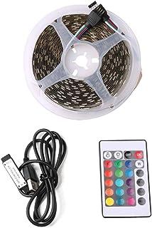 Auveach 5M 5V 5050 60SMD/M RGB LED Strip Lamp Bar TV Back Lighting Kit USB Remote Control Black
