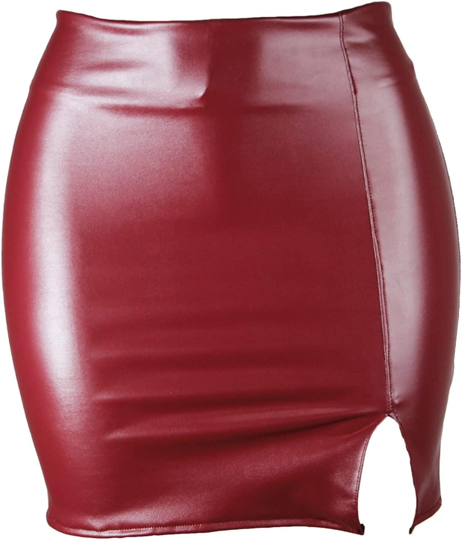 YONGHS Womens Shiny PU Leather Bodycon Pencil Skirts High Waist Slim Fit Side Slit Mini Short Skirts