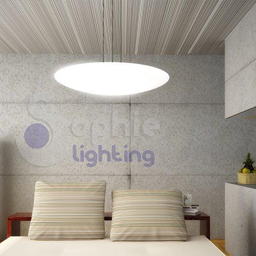 Lampada lampadario sospensione moderno design Ø 60 cm altezza regolabile 3 luci vetro satinato bianco acciaio cromo cucina tavolo DISCOVERY S60 SOPHIE LIGHTING