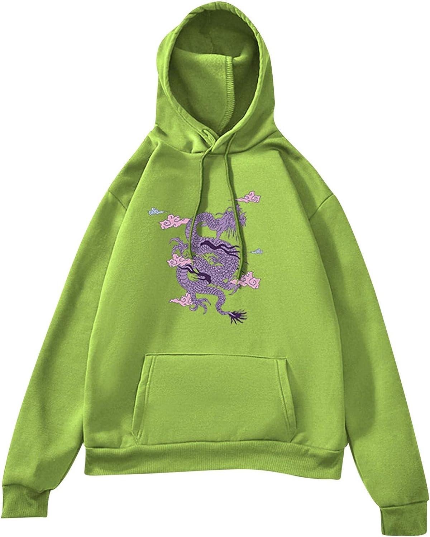 Toeava Womens Autumn Fashion Print Hoodie Sweatshirts Long Sleeve Loose Tops Drawstring Pullover Blouse with Pockets