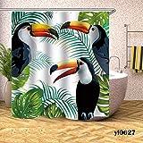 WWLZ Wasserdichter Duschvorhang Papagei Schmetterlingsdruck Badvorhänge Badezimmer für Badewanne Badeabdeckung Extra große breite 12-teilige Haken
