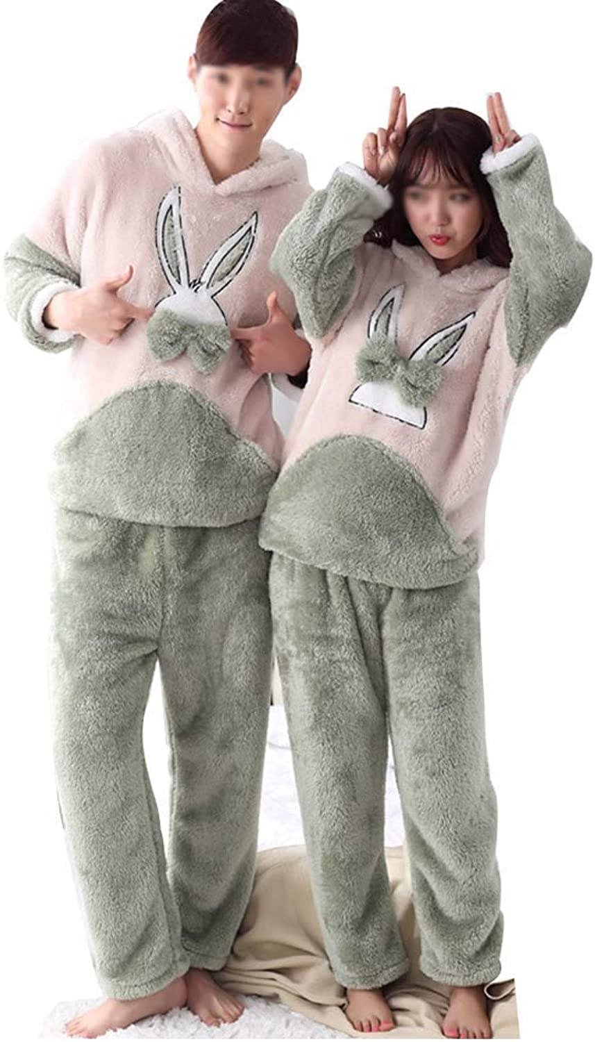 GJFeng Couple Pajamas Winter Flannel Cartoon Coral Fleece LongSleeved Trousers Suit Thickening Hooded Home Service (color   Female, Size   XL)