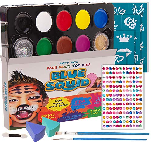 Blue Squid Face Paint Kit for Kids - 12 Washable Colors, 30...