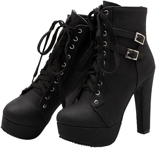 Xianshu Plate-Forme Chaussures Chaussures Talons Hauts Lace-Up Boucle Cheville Bottes  magasiner en ligne aujourd'hui