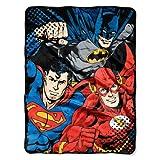 DC Comics Justice Micro Raschel Throw Blanket, 46' x 60', Multi Color, 1 Count, League Trio