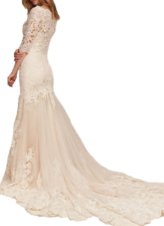 Ellenhouse Women's Sweetheart Empire Wedding Dress Lace Court Train EL241