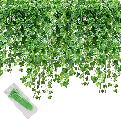 Artificial Ivy Leaf, 84 Ft 12 Pack Hanging Vines Garland Fake Ivy Leaves Plants Fake Foliage Flowers Fake Greenery Decor for Home Kitchen Garden Office Wedding Wall Party Decoration