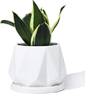 POTEY 052701 Plant Pot with Drainage Hole & Saucer - 4.7 Inch Glazed Ceramic Modern Geometric Shaped Planters Indoor Bonsai Container for Plants Flower Aloe(Shiny White, Plants Not Included)