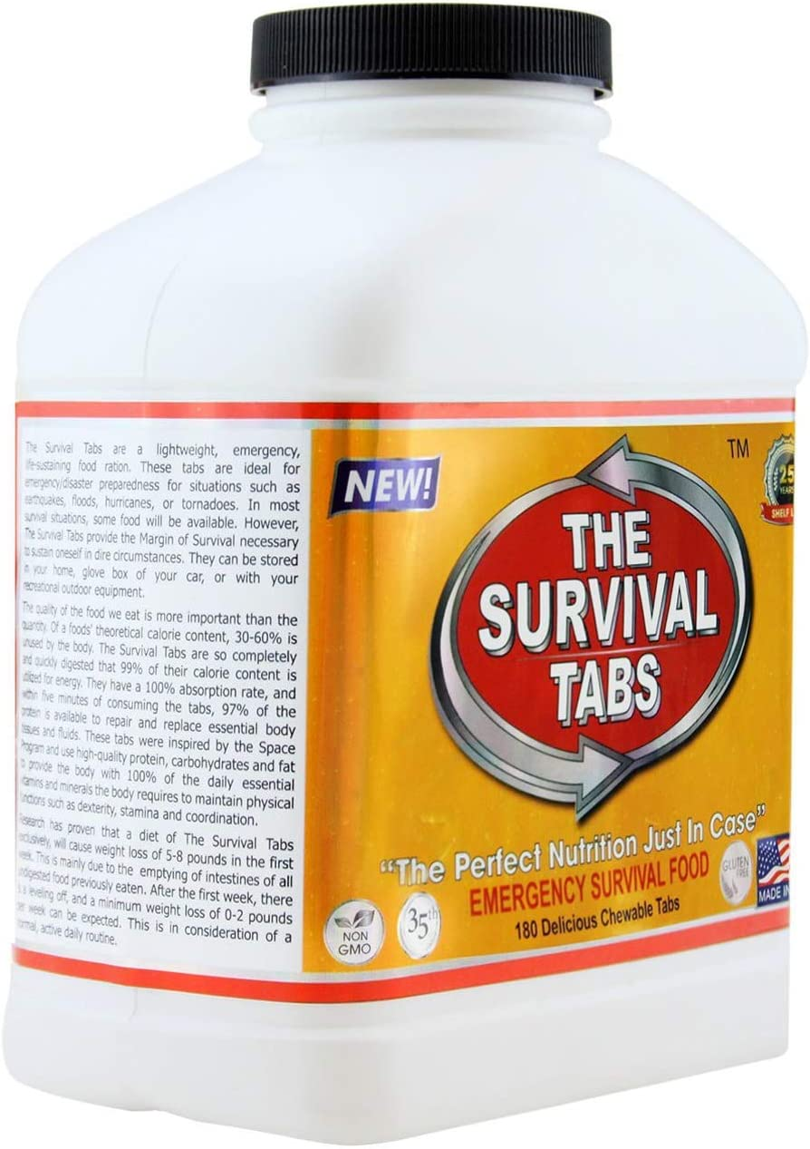 Emergency Food Supply - 10 Days Survival Food for Emergency Situation - Gluten Free and Non-GMO 25 Years Shelf Life (120 tabs - Chocolate) - -