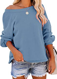 PRETTODAY Women's Round Neck Sweatshirts Long Sleeve Tops Casual Loose Blouses