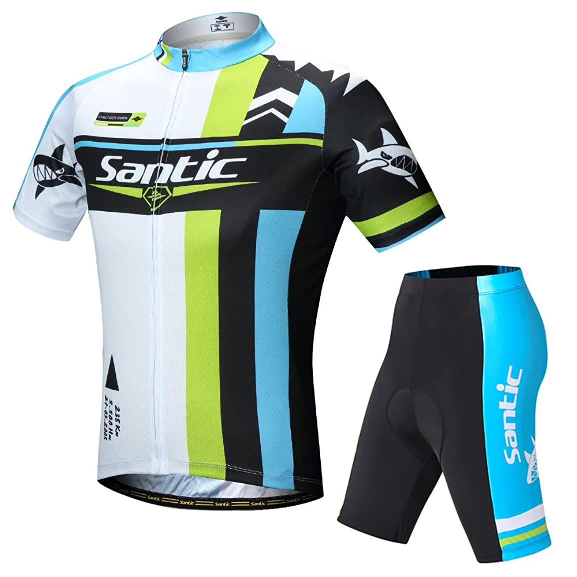 シニス囲い急ぐ【サンティック】Santic メンズ サイクルジャージ 上下セット 半袖 サイクルウェア ビブ選択可 通気性 吸汗速乾