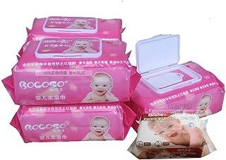 (10包1000抽免运费)BOCOSO 邦可士新生婴幼儿湿巾带盖5联包/10联包装(100抽/包) 儿童宝宝婴儿手口湿纸巾防红屁屁 (红色10包装)