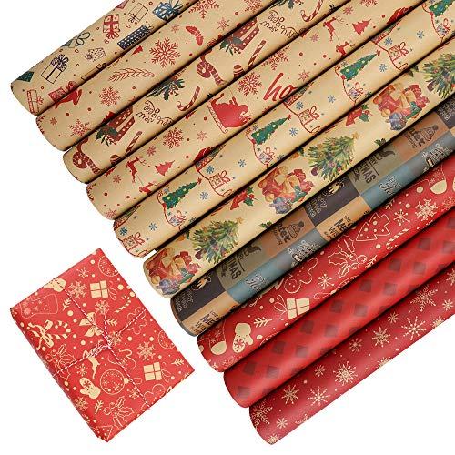 Papel kraft para envolver Navidad, 10 hojas de papel para envolver regalos, surtido, rollo de papel para envolver reciclable, para regalo de fiesta navideña, 50x70 cm brown,red
