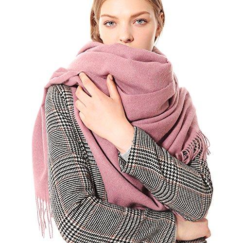 W.Best Écharpe Femmes Élégant Cachemire Foulards Pashmina Pour Automne Hiver Écharpea Chaud de Grande Taille, 200 * 70 cm,Ws012-Rose Fonce,Taille unique
