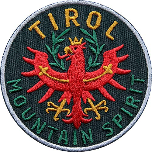 Club of Heroes 2 x Tirol Adler Patch 65 mm hochwertig gestickt/Aufbügler Aufnäher Flicken Bügelbild zum aufbügeln aufnähen/Österreich Tiroler Wappen Flagge Berge Wandern Reiseführer (Schwarz)