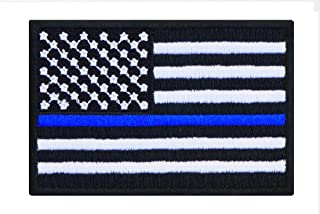 Black US USA American United States Flag Embroidered Iron On Patch Applique Thin Blue Line