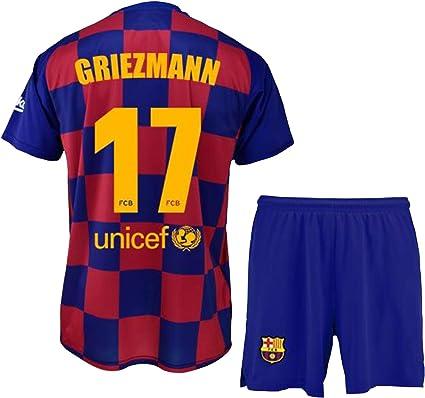 FCB Conjunto Camiseta y Pantalón Primera Equipación Infantil Griezmann del FC Barcelona Producto Oficial Licenciado Temporada 2019-2020 Color ...