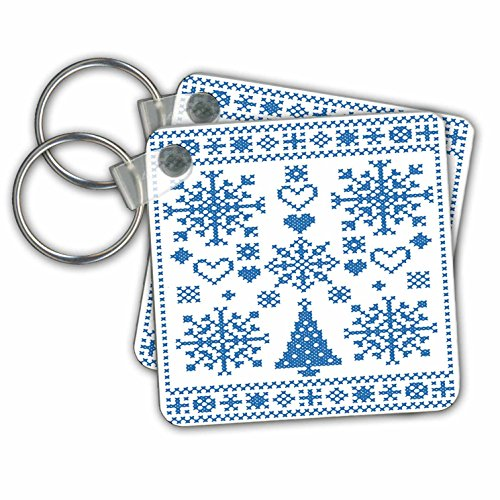 3dRose Christmas Cross Stitch Embroidery Sampler Teal and White Key Chain (kc_273649_1)
