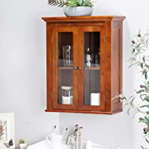 Glitzhome 24.1 Inch Wooden Wall Storage Cabinet with Glass Double Doors