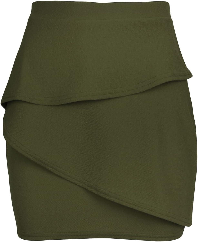 Be Jealous Womens Bodycon Elasticated Waist Stretchy Peplum Ruffle Frill Skirt