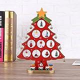 OULII Dibujos animados bricolaje madera árbol de Navidad decoración Navidad regalo adorno escritorio decoración de la mesa (rojo)