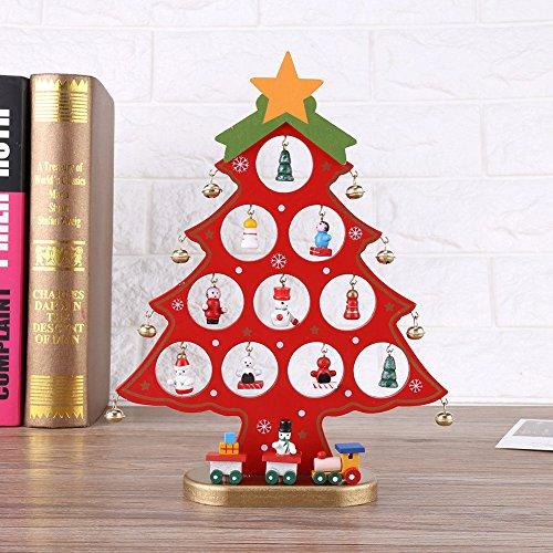 OULII In legno dell'albero di Natale fai da te del fumetto Natale ornamento regalo tavolo scrivania decorazione decorazione natalizia (rosso)
