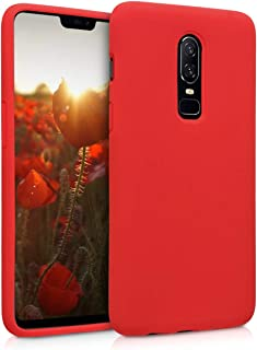 kwmobile TPU Silicone Case for OnePlus 6 - Soft Flexible Rubber Protective Cover - Red
