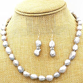 FidgetFidget New 8-9MM Silver Gray Real Baroque Cultured Pearl Necklace + Earrings 18KGP CL